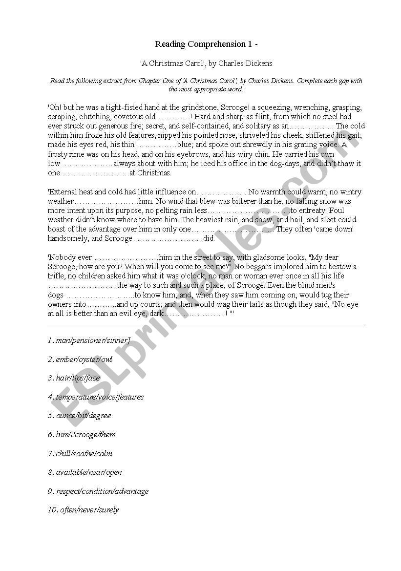 ´A Christmas Carol´, by Charles Dickens - ESL worksheet by imme321