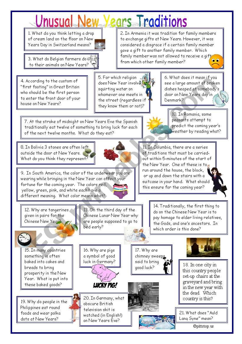 Unusual New Year Traditions worksheet