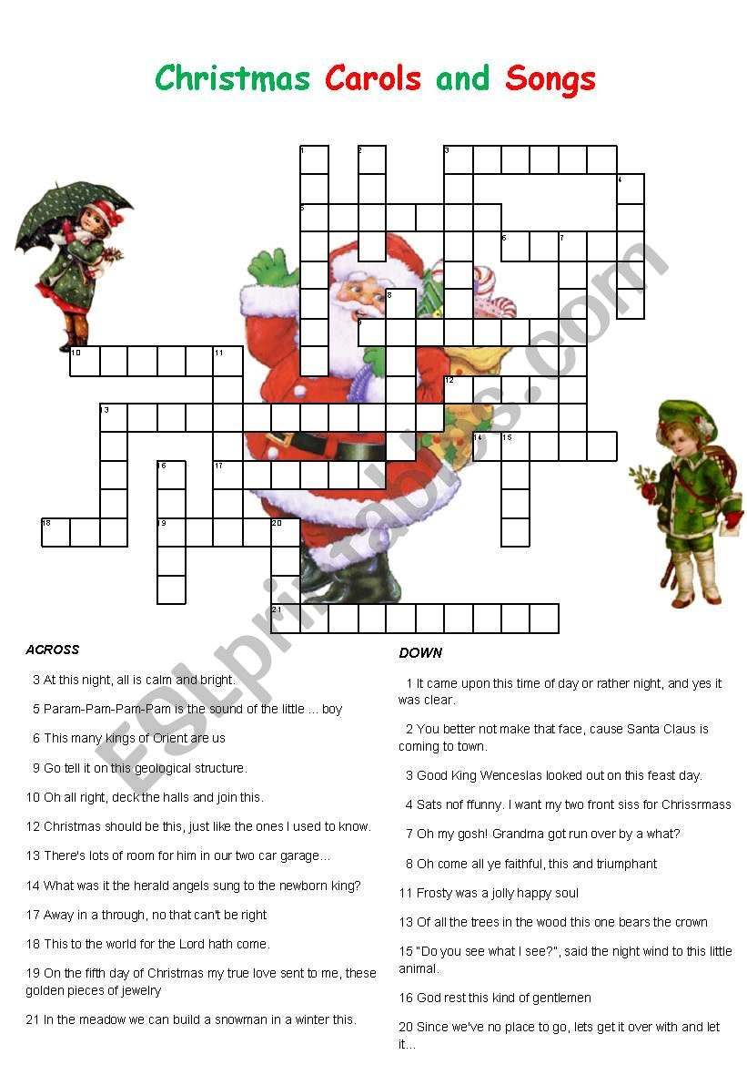 Christmas Carols And Songs Crossword Esl Worksheet By Englishchris