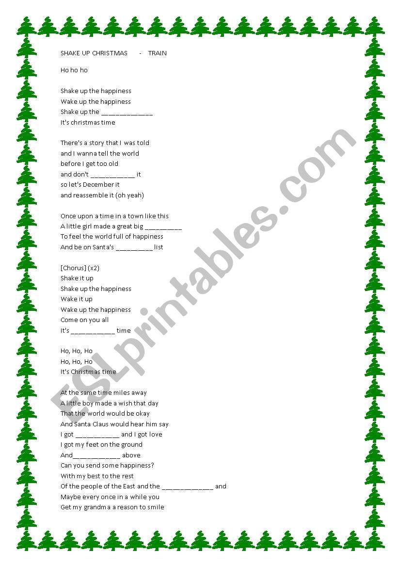 SHAKE UP CHRISTMAS-LISTENING worksheet