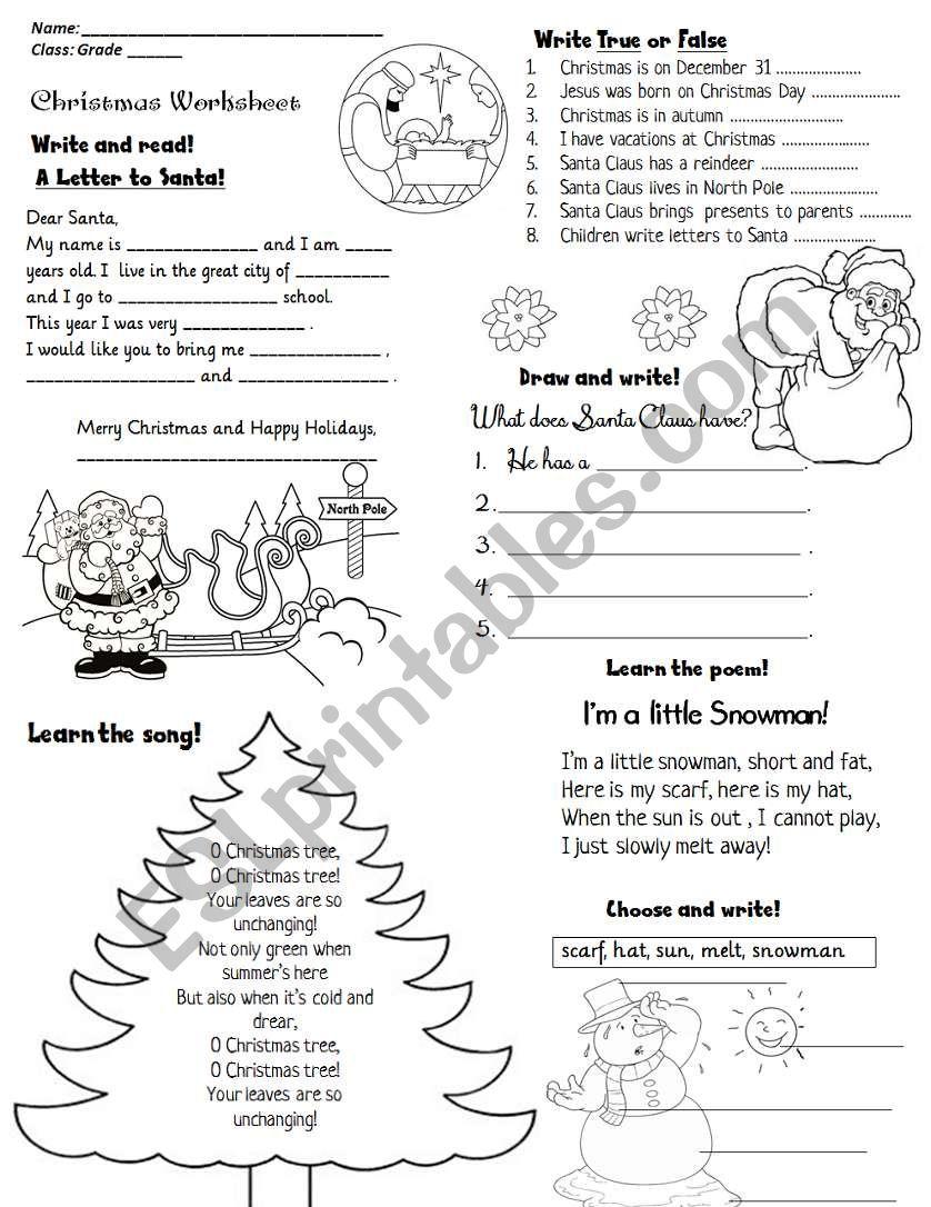 CHRISTMAS ACTIVITY WORKSHEET worksheet
