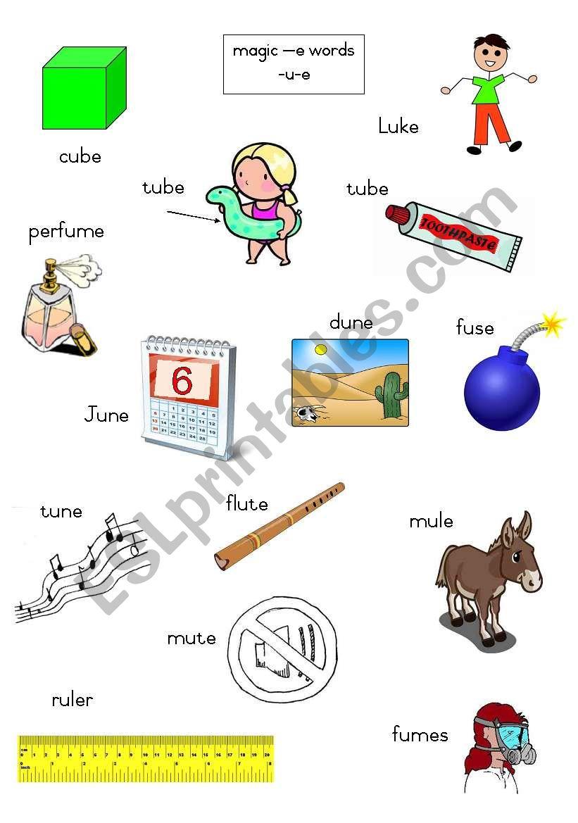 Magic e words - long u  worksheet