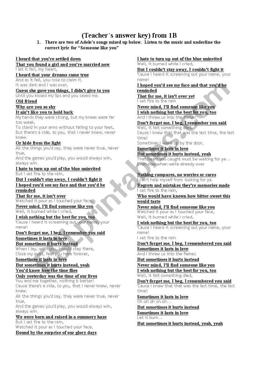 Someone like you by Adele - ESL worksheet by jsambugaro