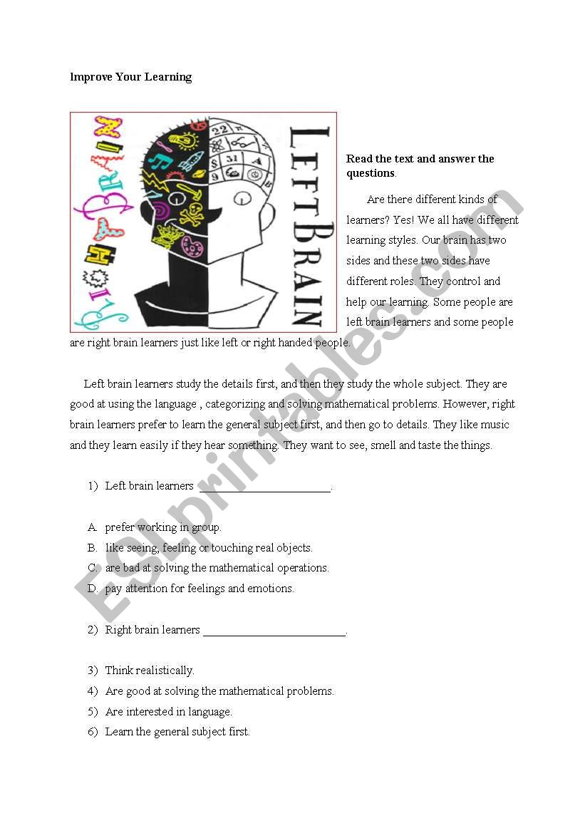 improve your learning worksheet