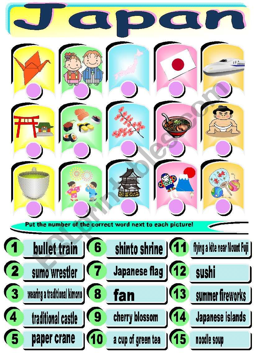 Japan worksheet (combine words and pictures)