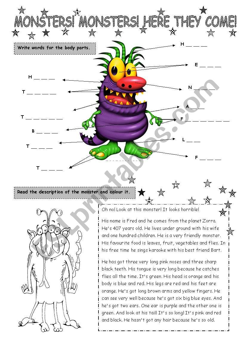 Monsters! Here they come! worksheet