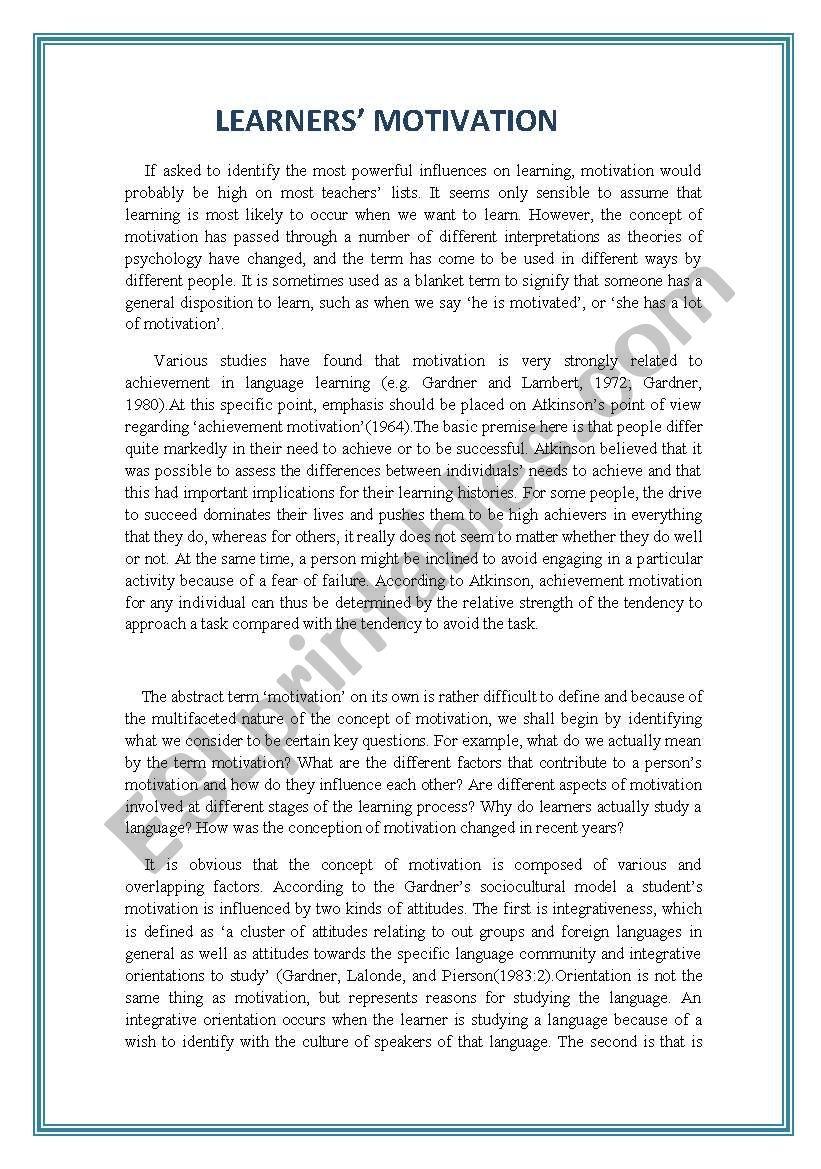 Worksheets Motivation Worksheets motivation esl worksheet by elpida pap worksheet