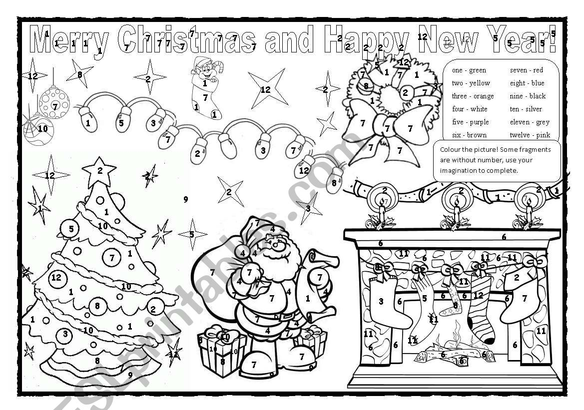 Christmas Colouring Numbers 1 12 And Colours Esl Worksheet By