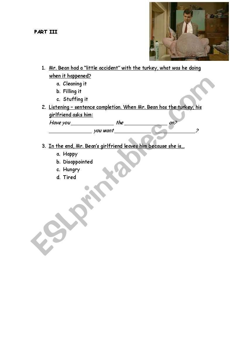 Video Activity Merry Christmas Mr Bean Esl Worksheet By Pepe74