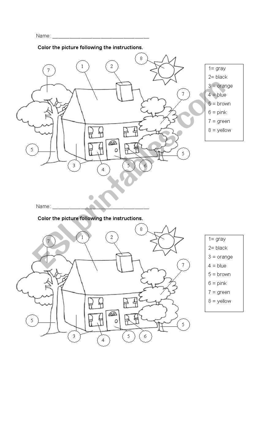 Coloring the house worksheet