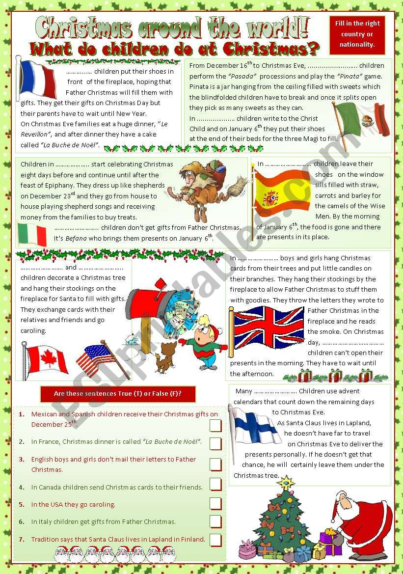 Christmas around the world worksheet
