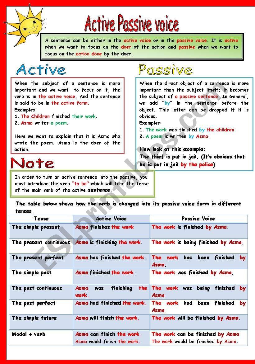 active passive  worksheet