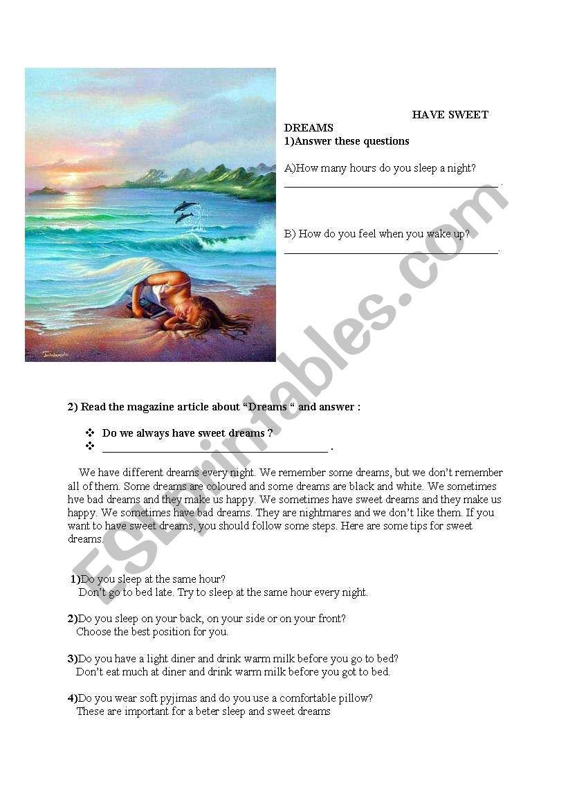Dreams worksheet