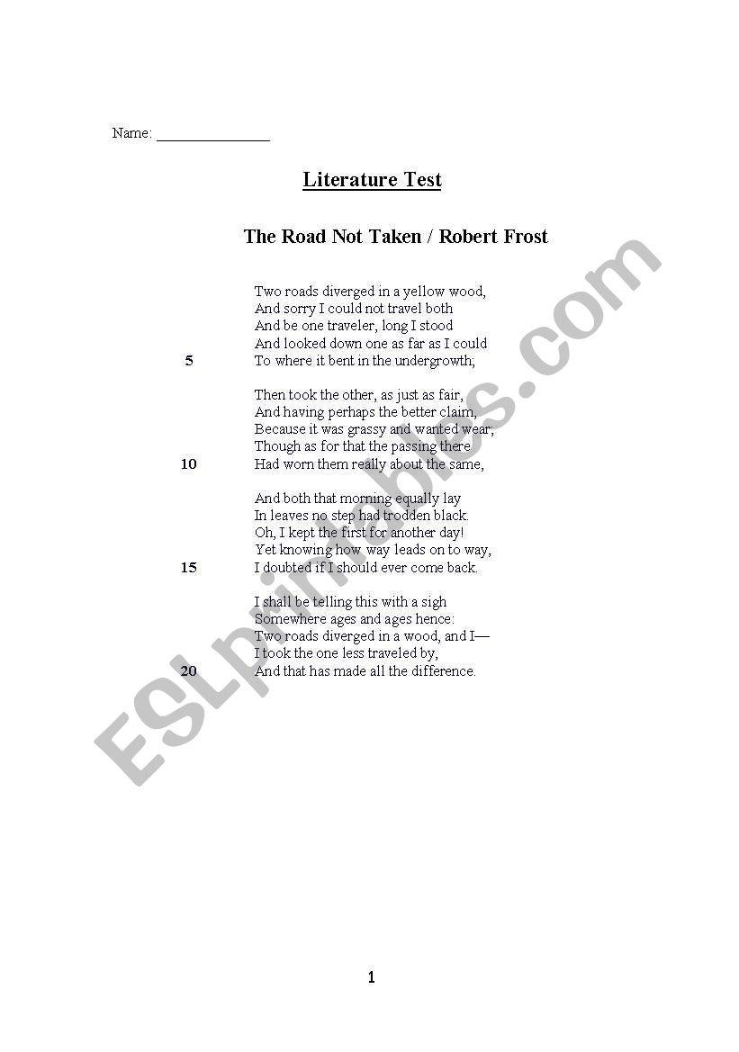 The Road not Taken - a quiz worksheet