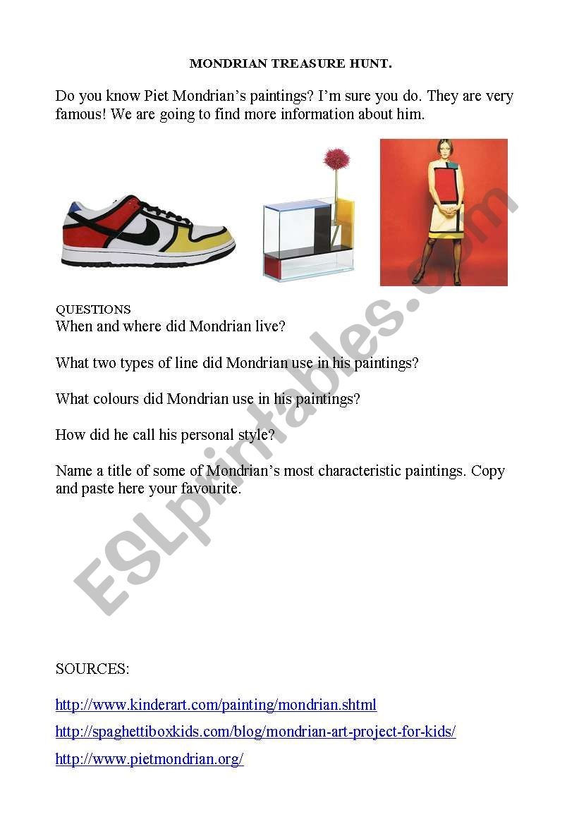 Mondrian Treasure Hunt worksheet
