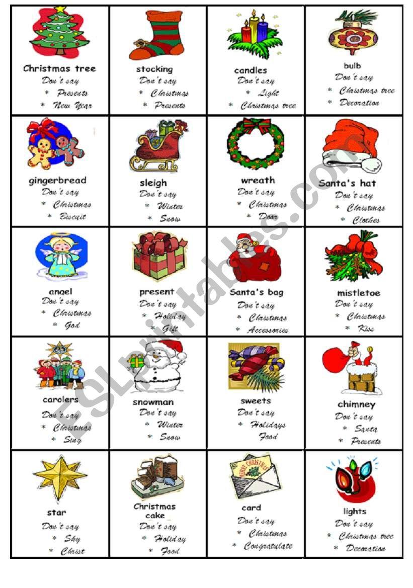 Taboo game Christmas - ESL worksheet by nadiasapko1988
