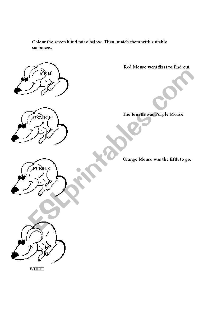 English Worksheets Colour The Seven Blind Mice