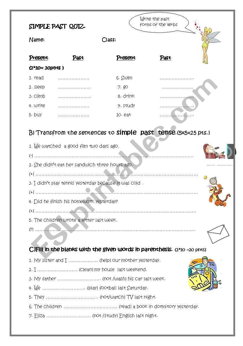 simple past tense quiz worksheet