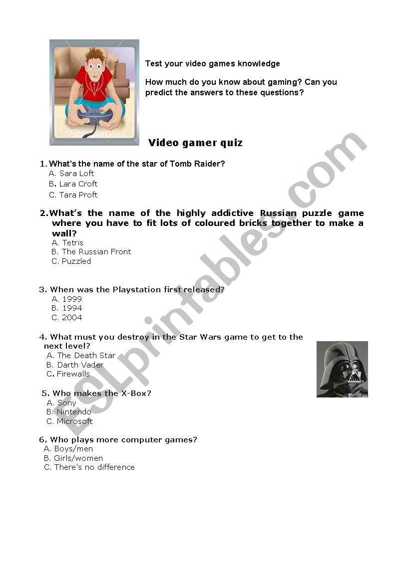 video games - quiz worksheet