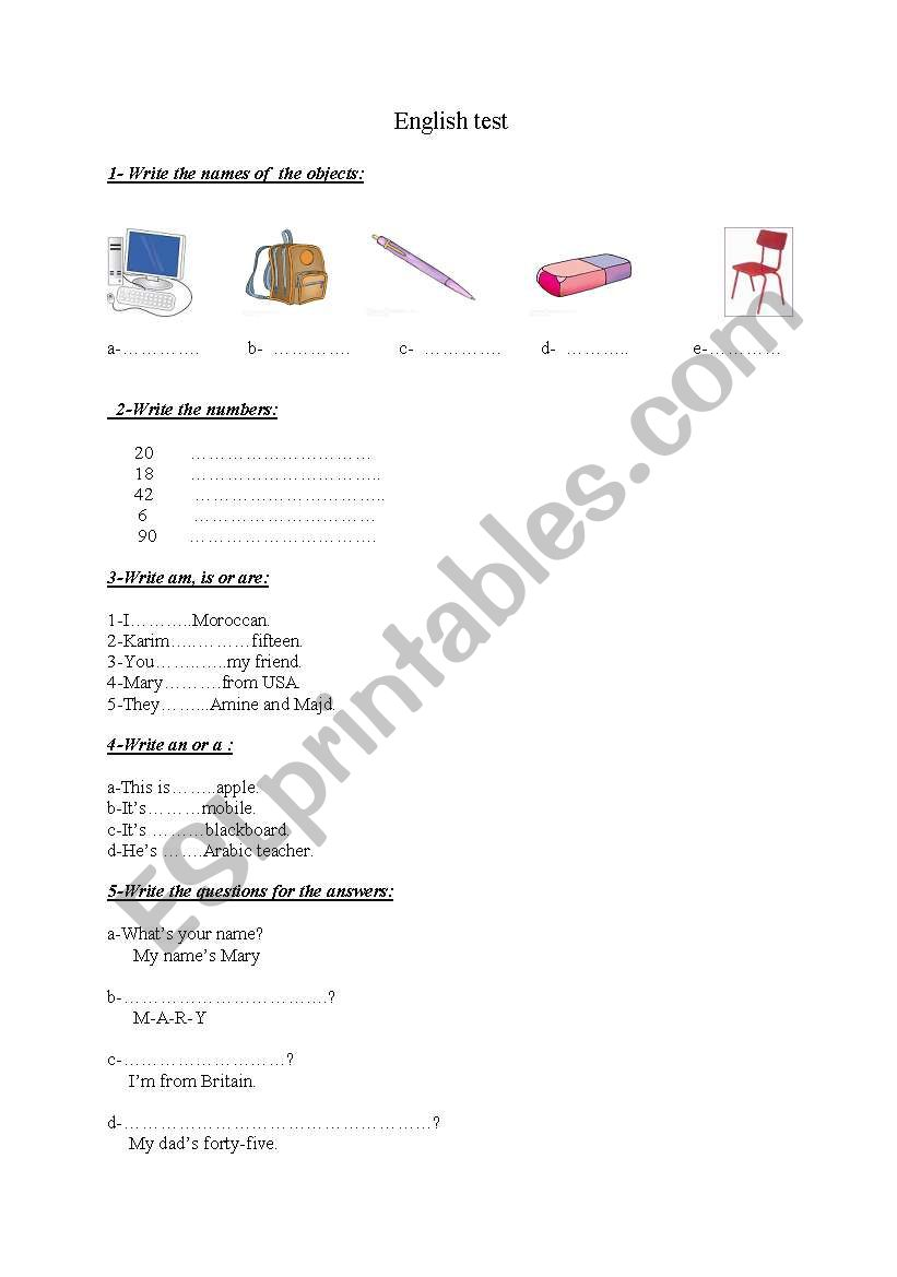 a test for beginners worksheet