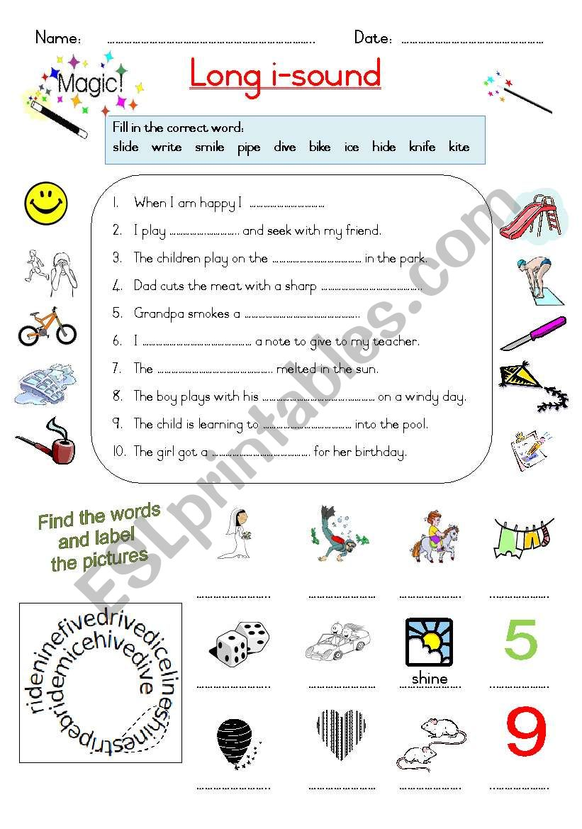 Magic E Long I Sound Esl Worksheet By Joeyb1