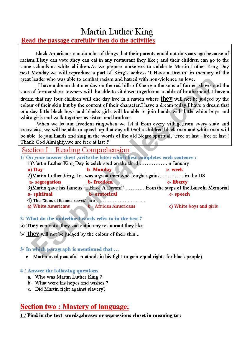 Martin Luther King worksheet