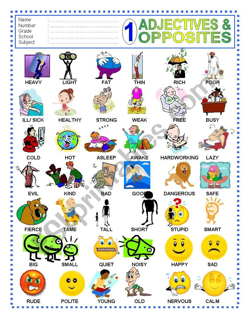 ADJECTIVES PICTIONARY (1-2) worksheet