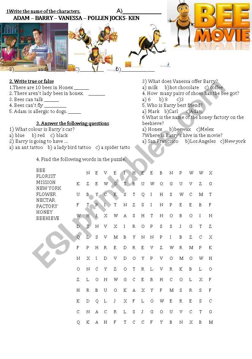 Bee movie activities bee movie activities worksheet izmirmasajfo Images