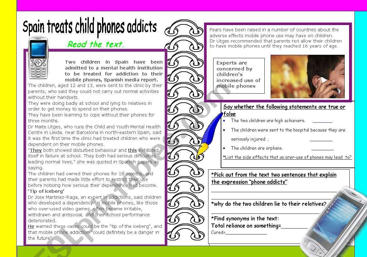 Mobile phone addicts worksheet