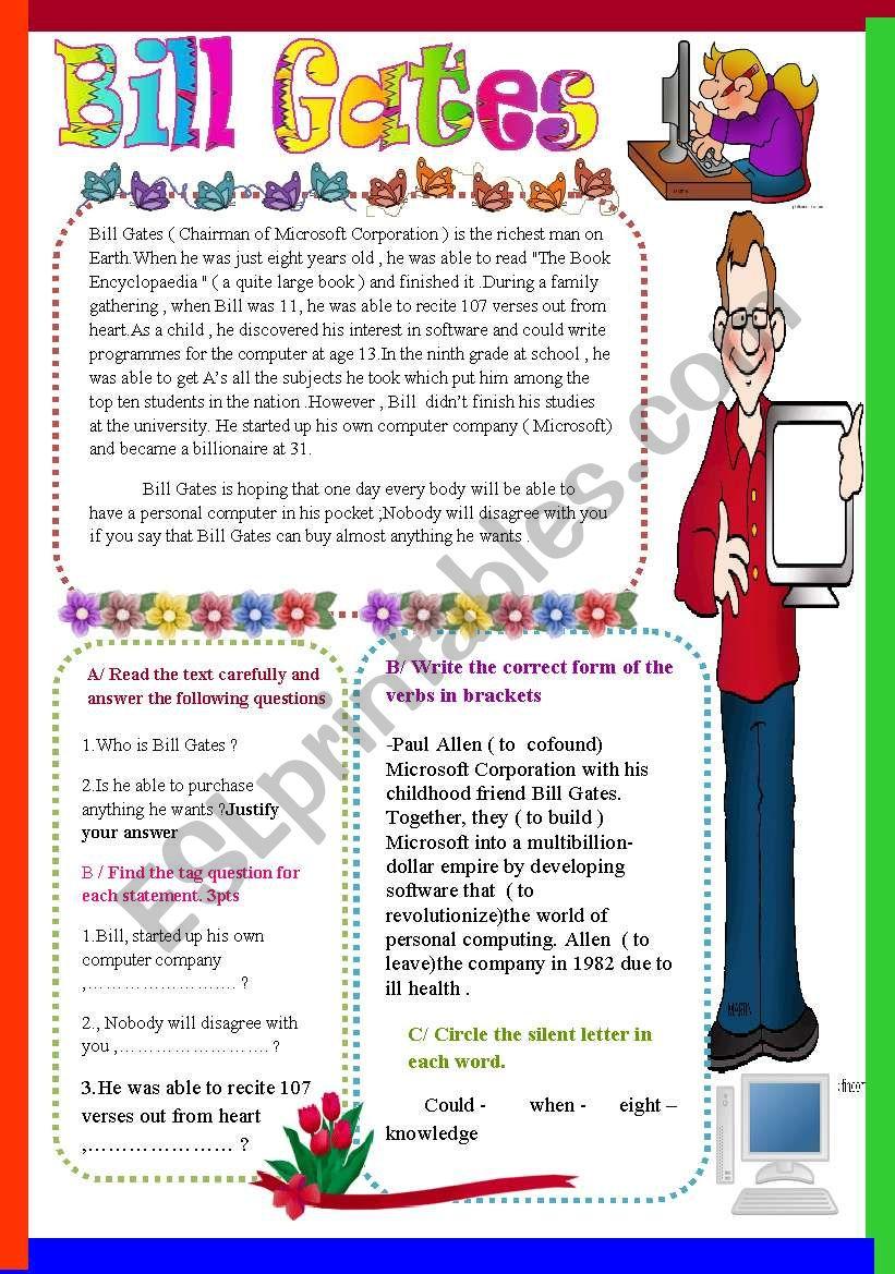Bill Gates worksheet