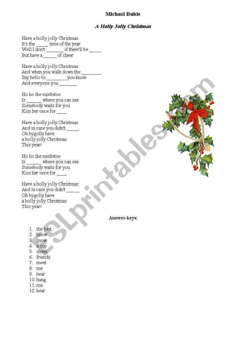 christmas song lyrics michael buble a holly jolly christmas - Michael Buble Christmas Songs