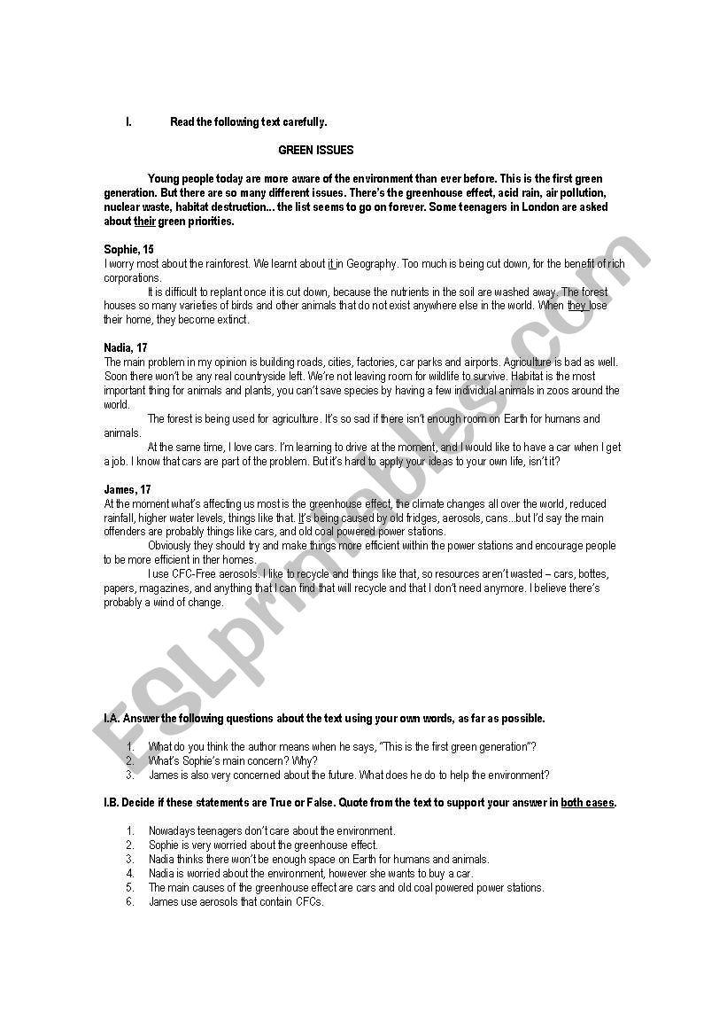9th GradersTest - ESL worksheet by RuiJorge