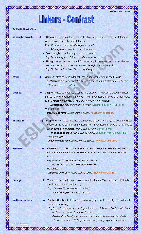 Linkers - Contrast worksheet
