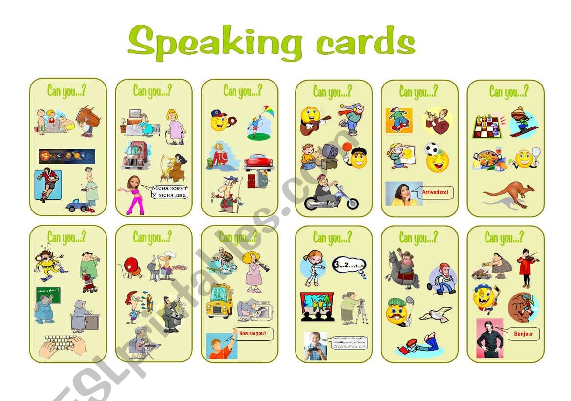 can speaking cards worksheet