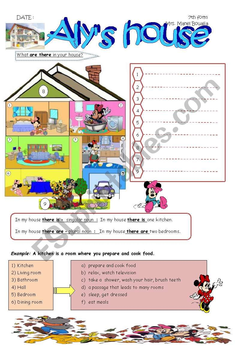 ALY´S HOUSE worksheet
