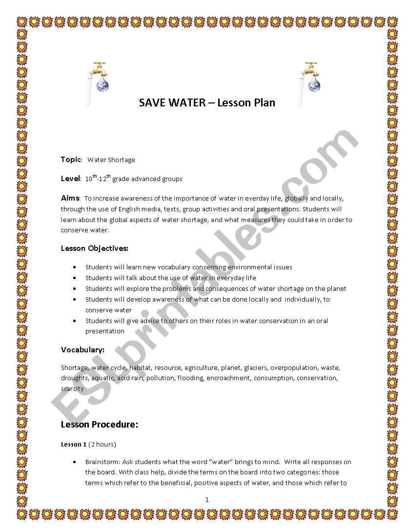Save water -  lesson plan worksheet