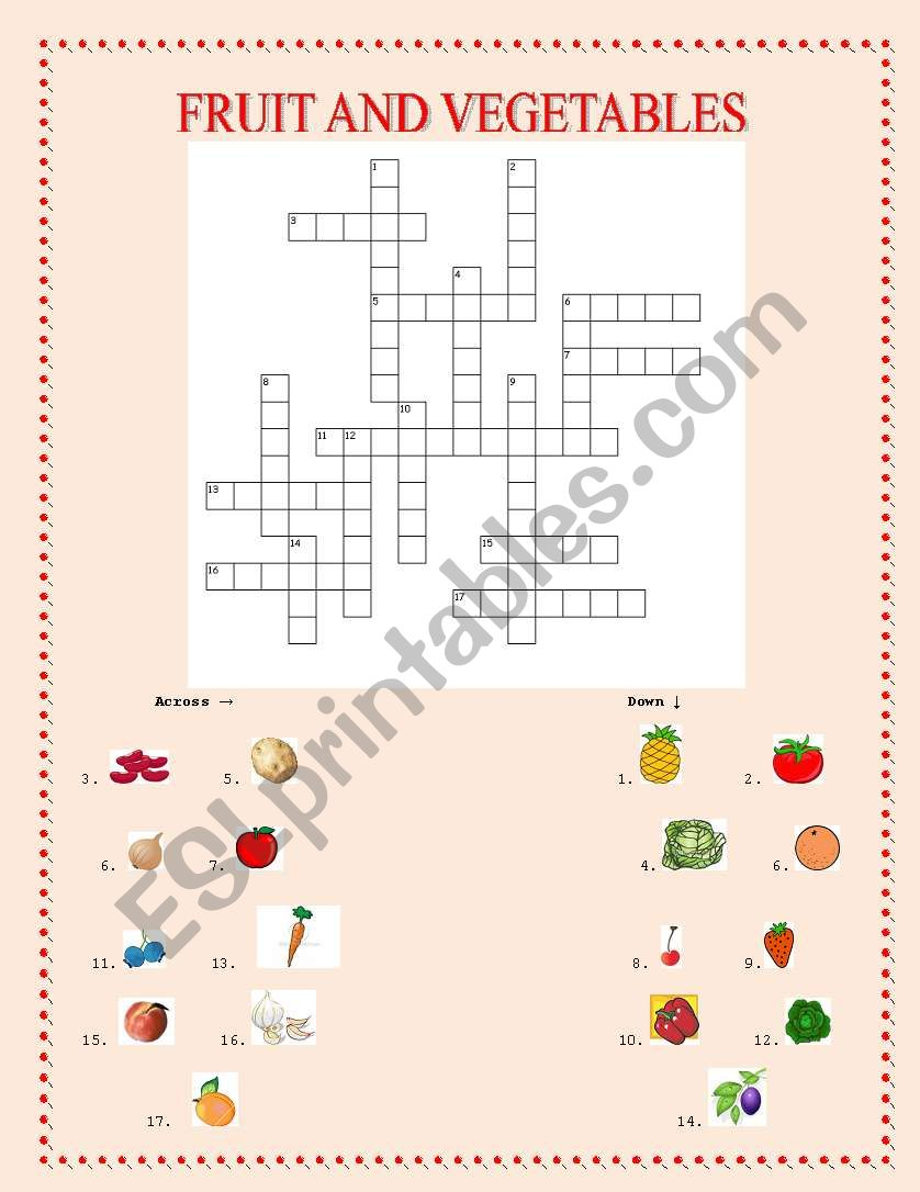 Fruit and vegetables worksheet