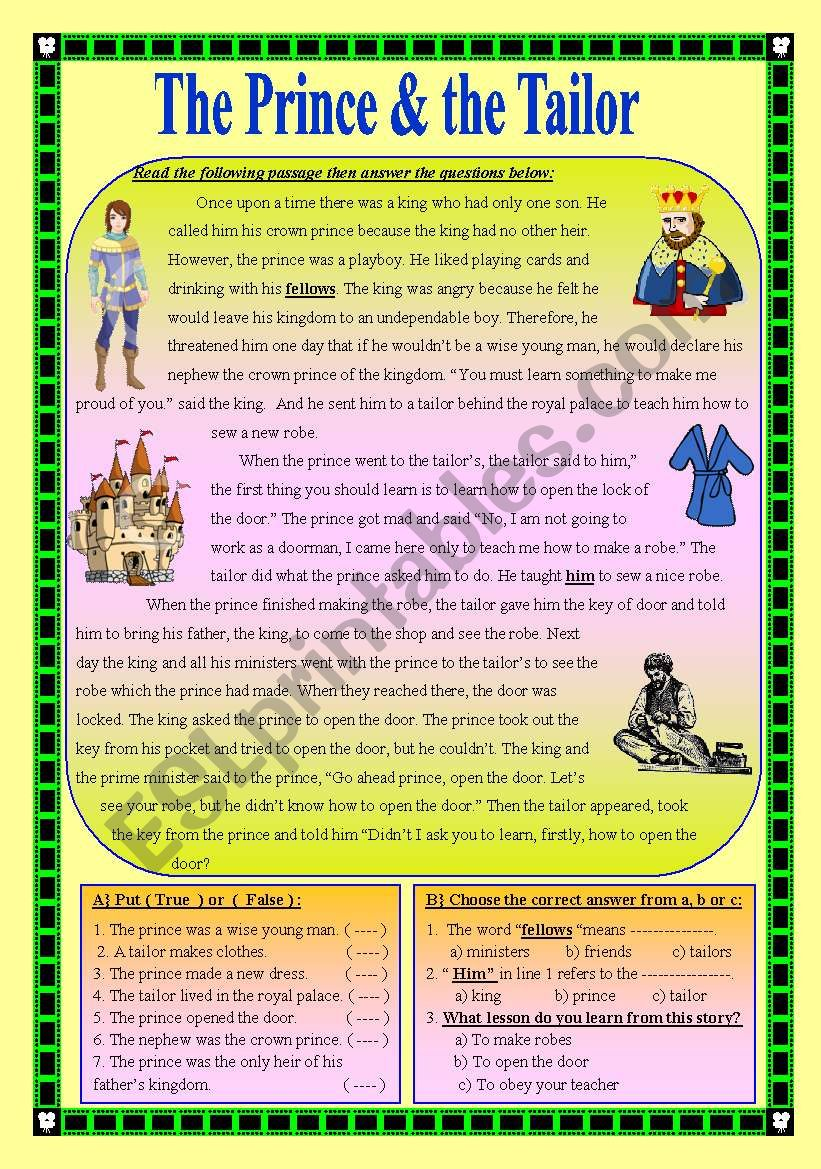 The Prince and the Tailor worksheet