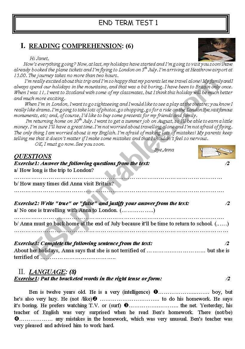 End of term test n°1 worksheet