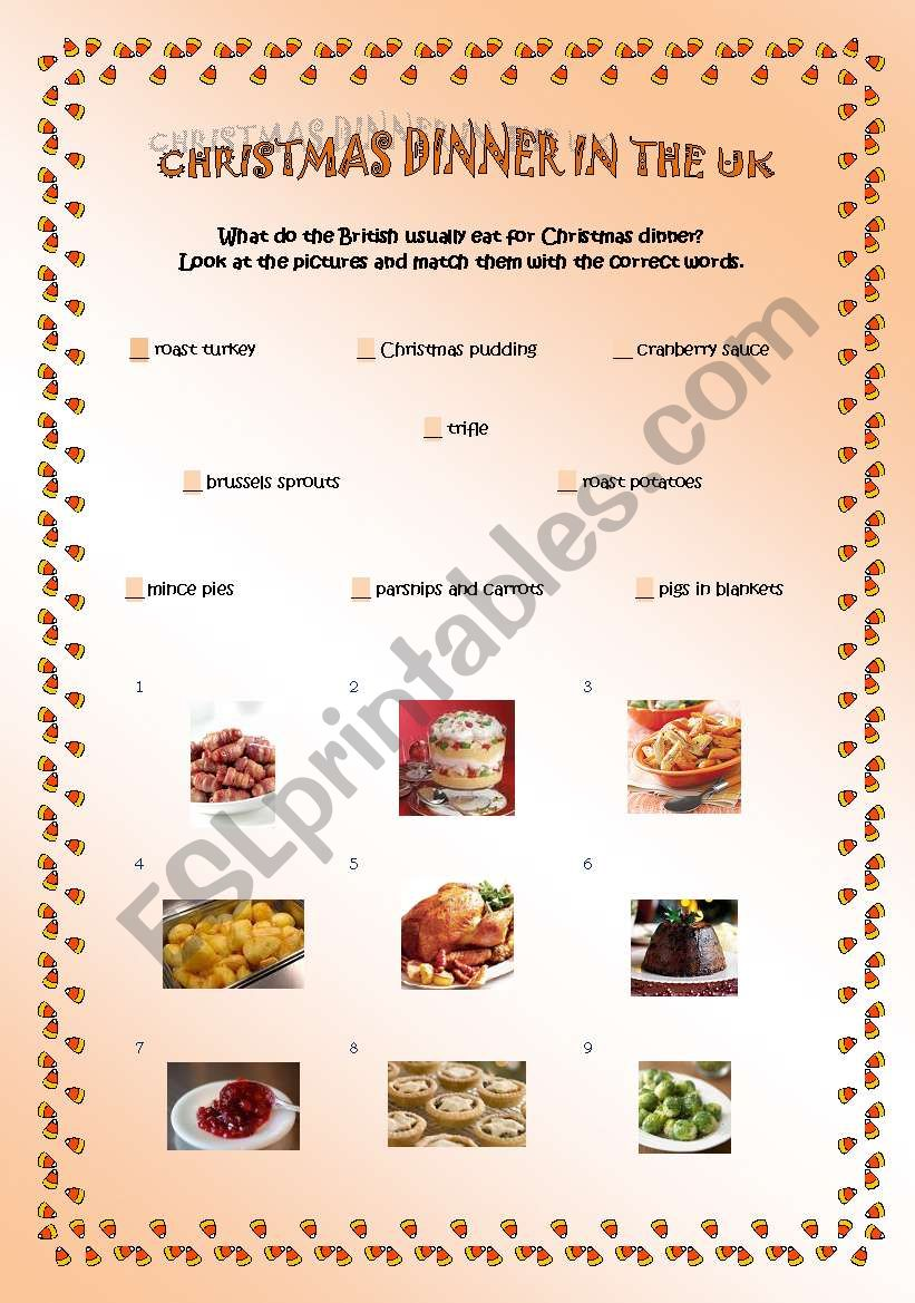 Christmas dinner in the UK worksheet