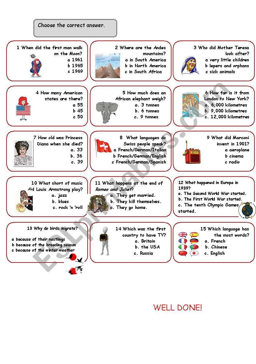 English worksheets: General Knowledge Quiz