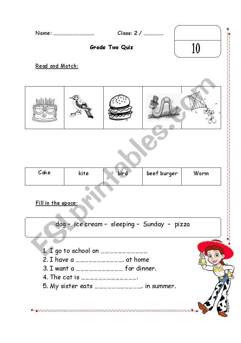 English worksheets: Grade 2 Quiz