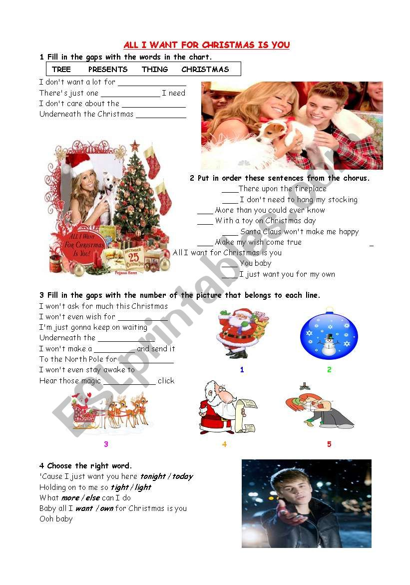 All I want for Christmas is you - ESL worksheet by pepaflower
