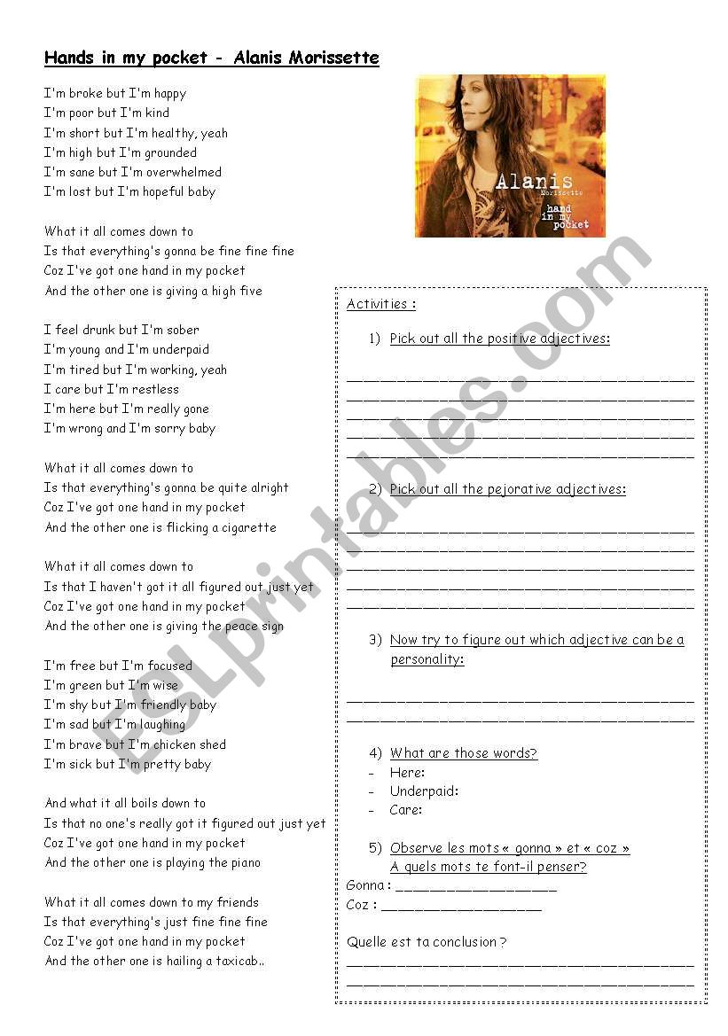Song on adjectives  worksheet