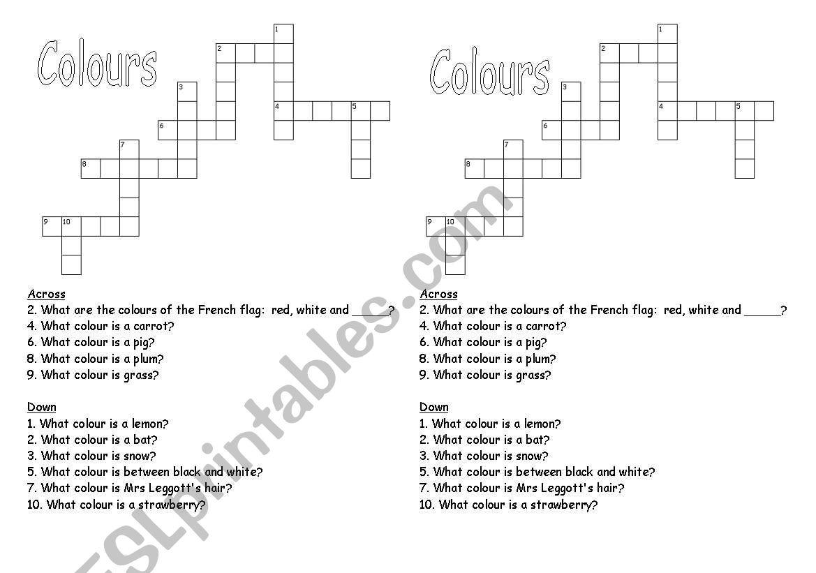 Colour Crossword worksheet