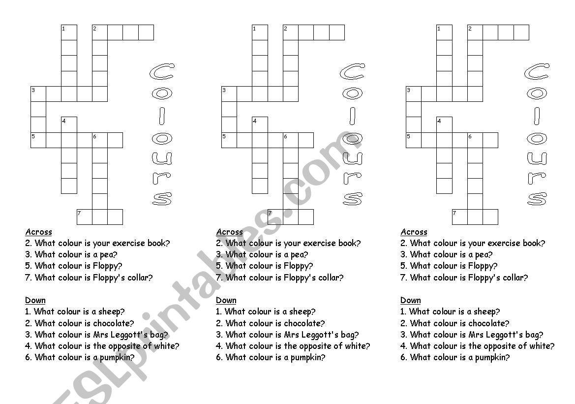 Colour Crossword 2 worksheet