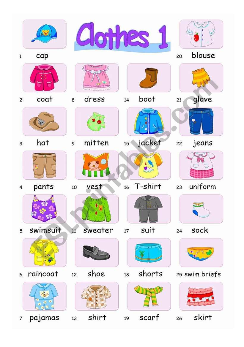 Pictionary***Clothes 1 worksheet