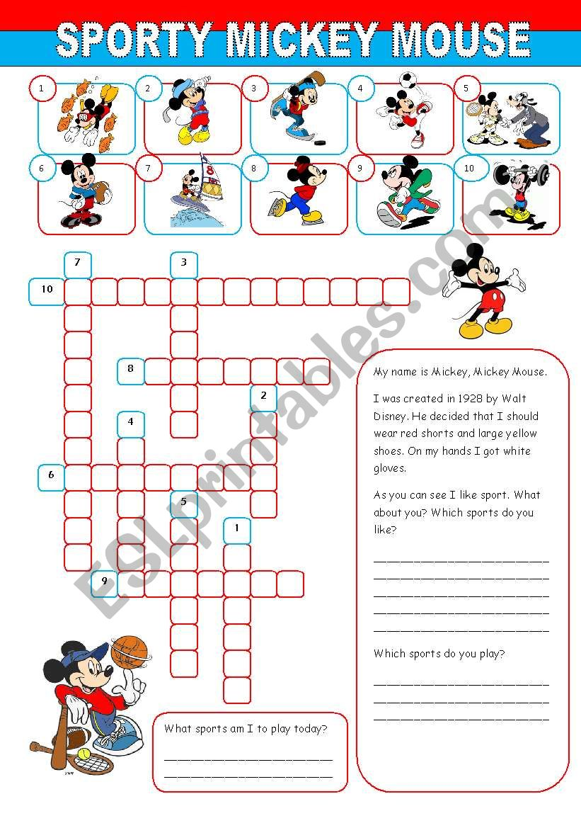 Sporty Mickey Mouse worksheet