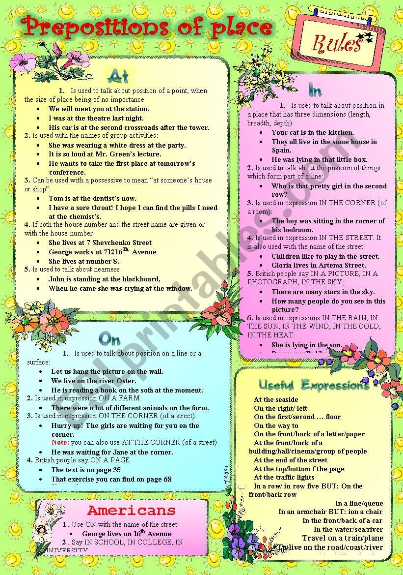 PREPOSITIONS OF PLACE***RULES worksheet