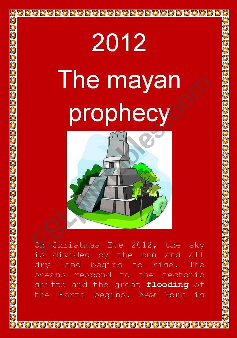 2012: The Mayan Prophecy worksheet
